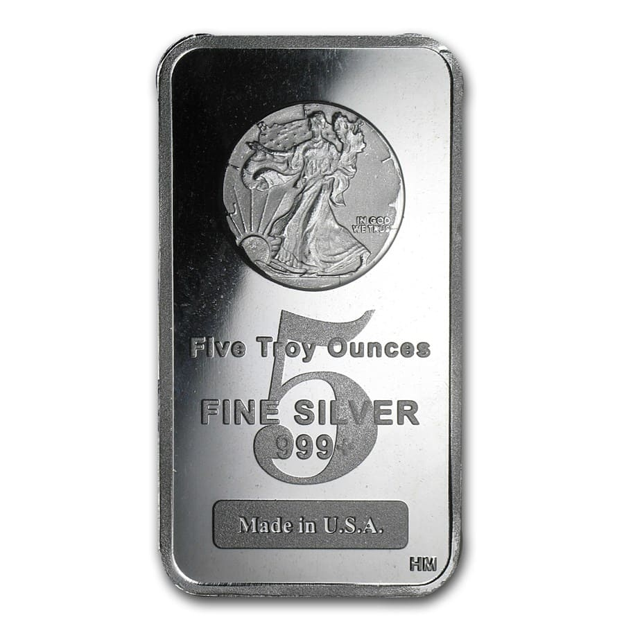 5 oz Silver Bar - Walking Liberty Design
